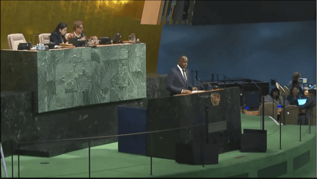 Prime Minister of Dominica addressing the United Nations