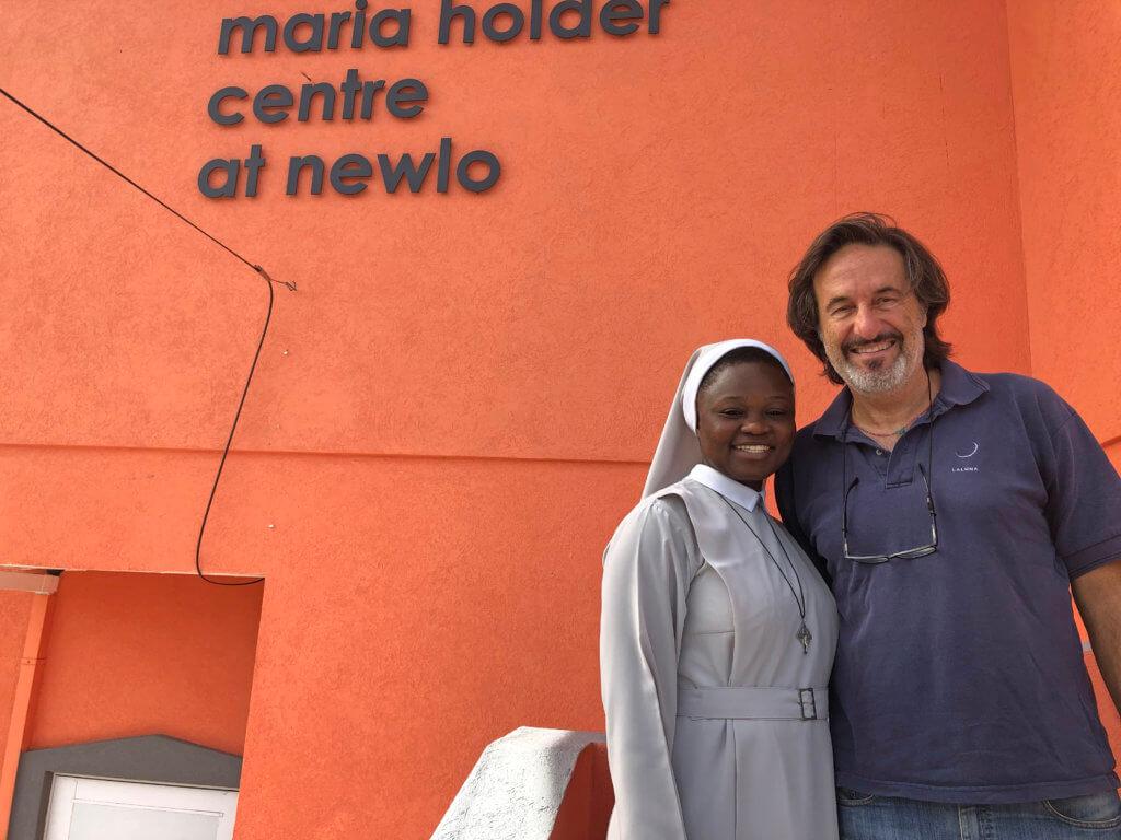 Sister Margaret Yamoah, Executive Director of NEWLO and Laluna owner, Bernardo Bertucci