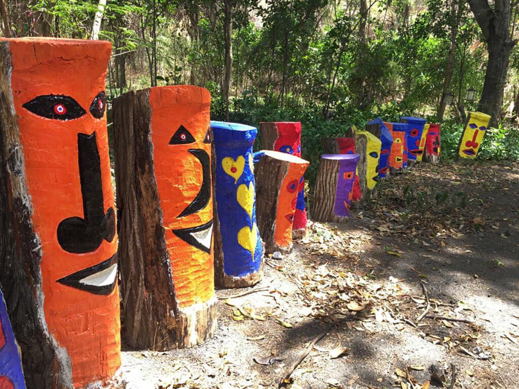 carved trees by Grenadian artist JFG Thomas